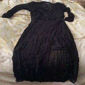 Bebe dress sexy black 6 high low lace